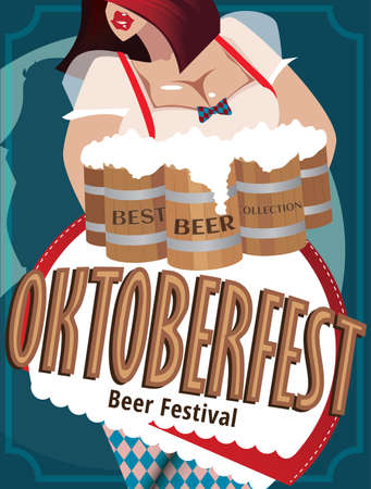 Poster with woman at Oktoberfest who holding mugs with beer