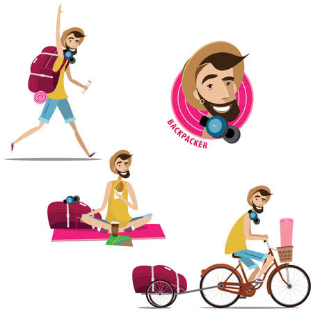 bag cartoon: Vector illustration contains set of backpacker in three different situations