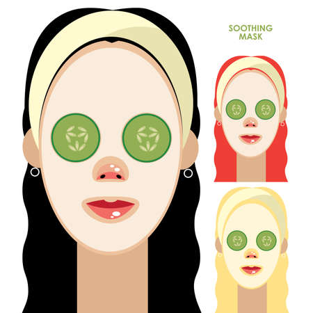 pampered: Set of Beautiful women with facial soothing mask and cucumber slices on face