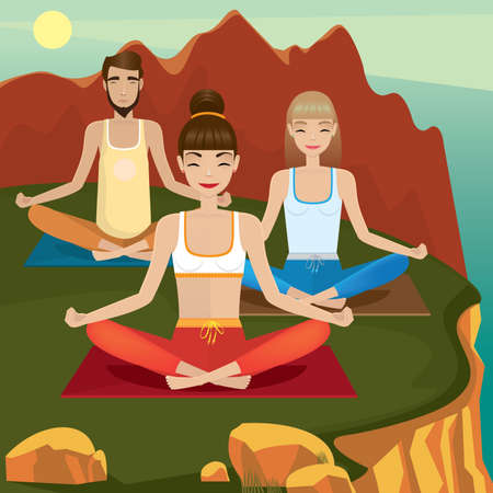Group of people meditate in lotus pose in the mountain - mentoring and followers concept