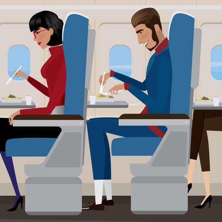 사람들은 비행기 기내식에서 점심 식사를합니다. 일러스트
