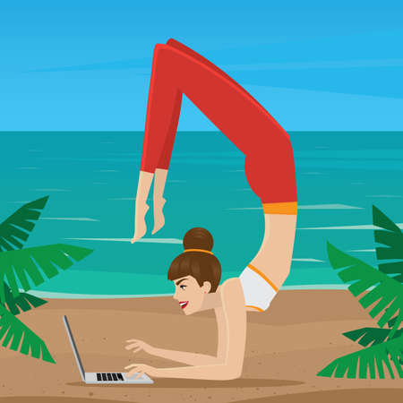 self employed: Girl working at a laptop in yoga pose vrischikasana - freelance as lifestyle concept