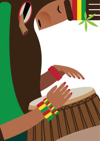 ganja: Vector illustration on white background featuring rasta, playing reggae on the drum