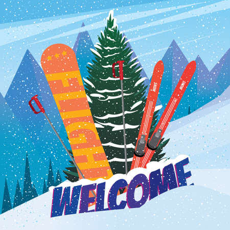 Inscription welcome with skis and snowboard stick out of snow before a fir - invitation to the ski resort concept
