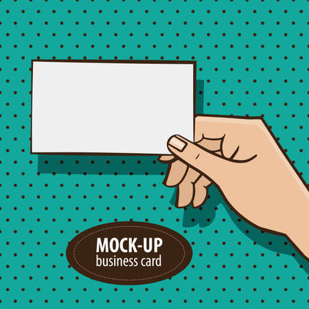 show business: Man holding mockup business card on the retro style background