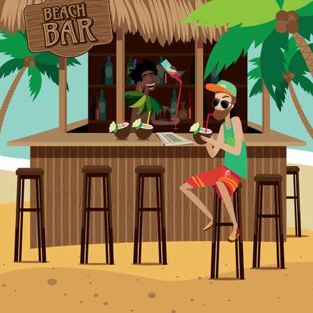 Hombre en el bar de la playa bebe cóctel exótico mientras camarero preparación de cócteles trópico
