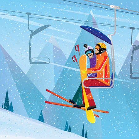 Friends with sports equipment on a chairlift- extreme tourism concept  イラスト・ベクター素材