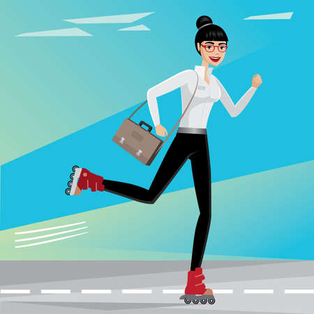 the businesswoman: Successful businesswoman hurry to work by roller skates