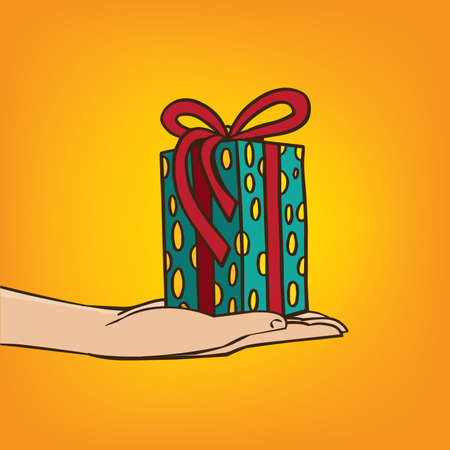 gesticulation: Man extends his hand with the gift box - congratulation or surprise concept