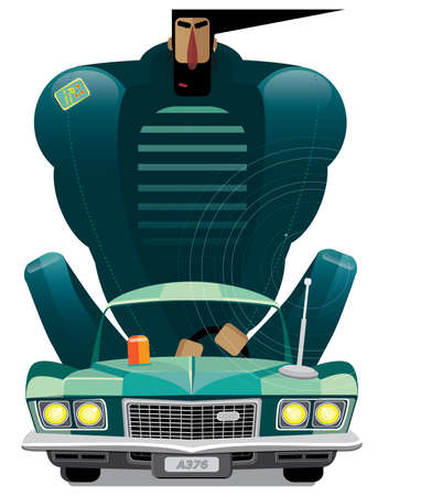 headlamp: Vector illustration on white background featuring man in retro car, front view