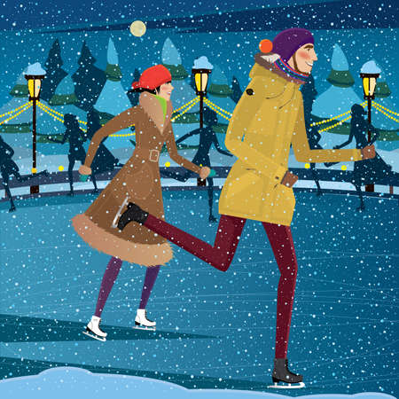 date night: Couple skating on ice rink at night - Yule Fest concept Illustration