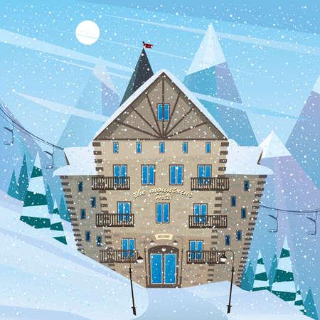 Hotel in the ski resort - sport tourism concept