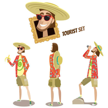 foreshortening: Vector illustration contains tourist man in three different poses Illustration