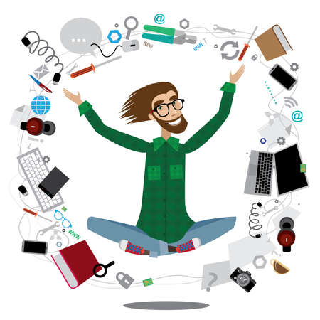 computer isolated: Vector illustration on white background featuring successful computer specialist in the lotus position with various equipment around