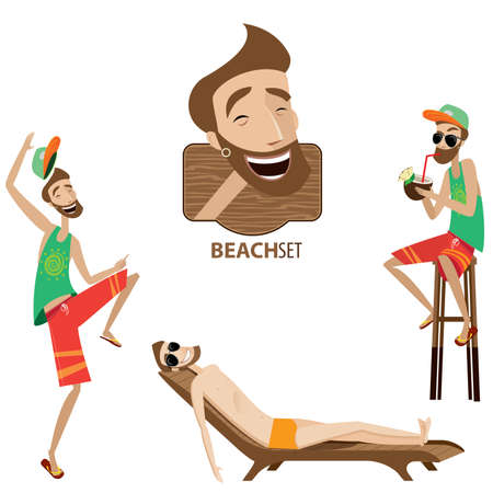 drink at the beach: Vector illustration contains beach man in three versions