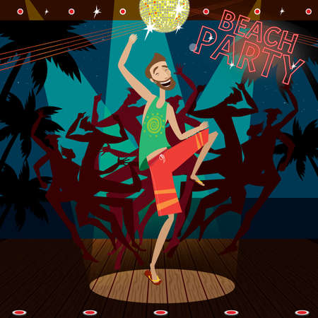 Vector illustration featuring man is dancing at a beach party