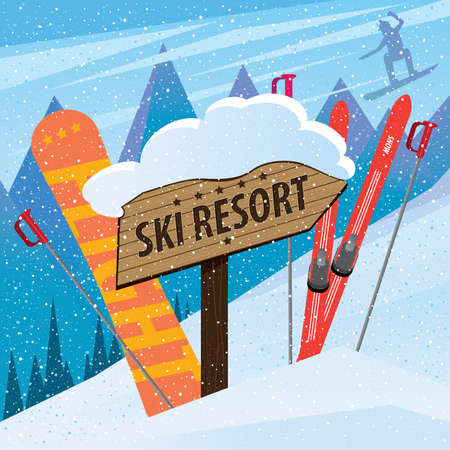 steep cliff sign: The sign ski resort shows on peak and nearby a sports equipment in snow - invite concept