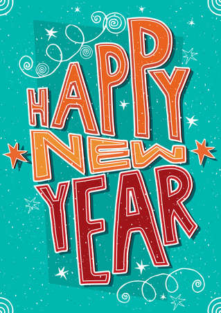 new years eve: Greeting card with lettering Happy New Year. International postcard format 105:148