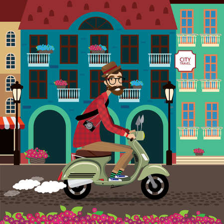 voyager: Vector illustration featuring city voyager, man rides a scooter in old city center
