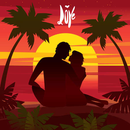 couple date: Couple sitting on a sunset on the beach and looking at each other - Romantic date concept