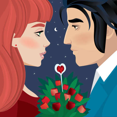 evening: Couple on a romantic evening - Valentines Day dating concept Illustration
