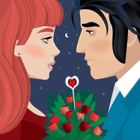 romantique: Couple sur une soirée romantique - Day dating concept de la Saint-Valentin
