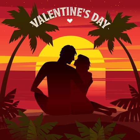 Pareja sentada en una puesta de sol en la playa y mirando el uno al otro - concepto de día de San Valentín Foto de archivo - 50410683