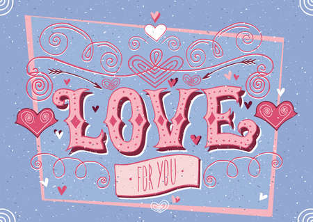 old style lettering: Greeting card for guy and lettering with desaturated blue color - Big Love for you