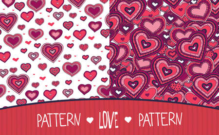 variegated: Set of two seamless Love patterns saturated colors with hearts Illustration