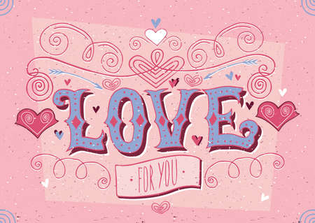 old style lettering: Greeting card for girl and lettering with soft red color - Big Love for you
