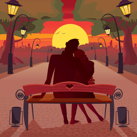 Couple sitting on a bench in the park and admiring the sunset - Romantic date concept Çizim