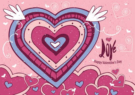 old style lettering: Greeting card with big heart and soft colors - Valentines Day card concept