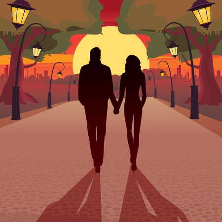 Casal andando no parque ao pôr do sol de mãos dadas - conceito de amor Ilustración de vector
