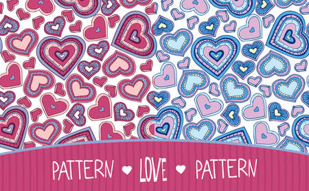 fondness: Set of two seamless Love patterns soft colors with hearts