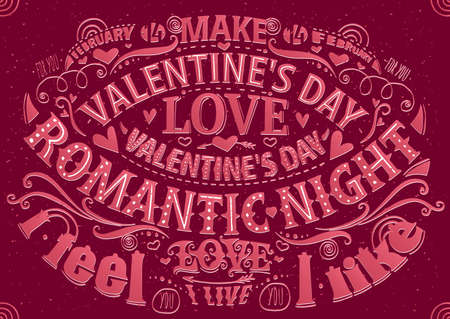 fondness: Lettering greeting card with dark pink color - Valentines Day postcard concept