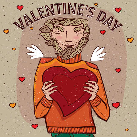 felicitation: Man holds heart - Valentines day concept