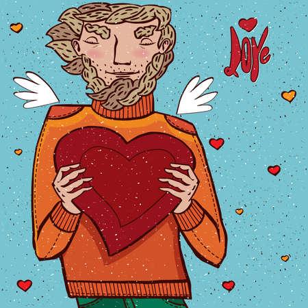 shapes cartoon: Man giving heart - Love concept