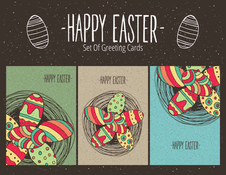 easter message: Bundle of Easter greeting cards with Easter eggs in nest. Format A6 ratio - Happy Easter concept