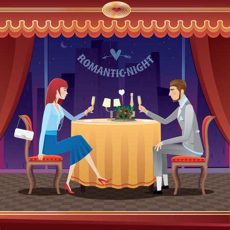 ragazza innamorata: La coppia elegante, seduto al ristorante la sera e bere champagne - concetto di anniversario Vettoriali