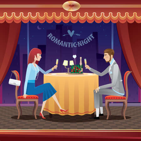 cartoon dress: The elegant couple sitting at restaurant in the evening and drinking champagne - anniversary concept Illustration