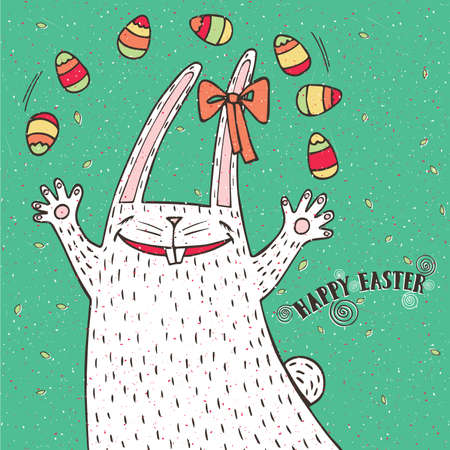 elation: Funny Easter illustration with Easter bunny and Easter eggs