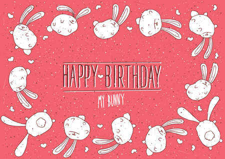 postcard background: Happy Birthday my bunny inscription with red background - postcard concept