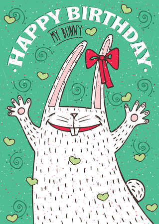 cute cartoon animals: Lettering Happy Birthday my bunny with funny white rabbit - greeting card concept Illustration
