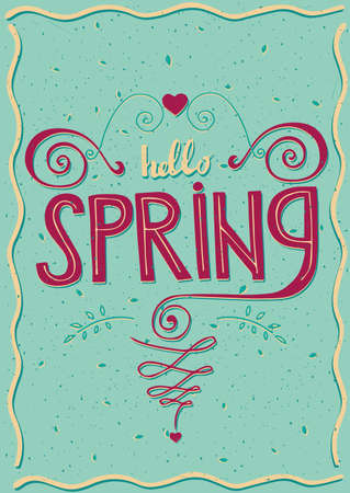offshoot: Inscription Hello spring with flourishes and heart shapes Illustration