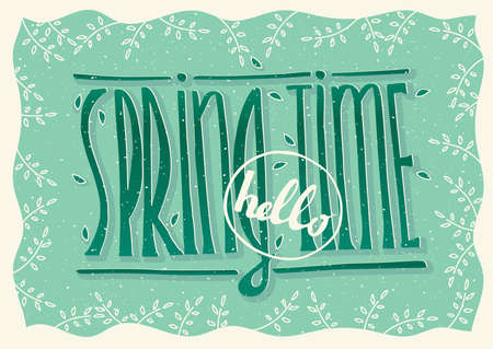 hello: Hand drawn text Hello spring time with sprigs on green background - postcard concept Illustration