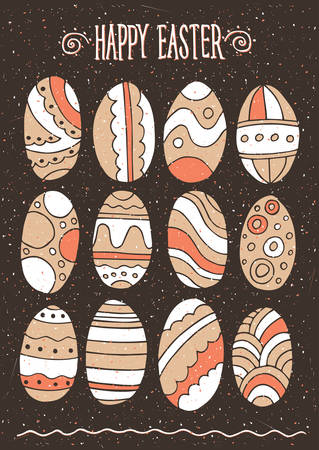 pied: Set of different handmade Easter eggs - Happy Easter concept