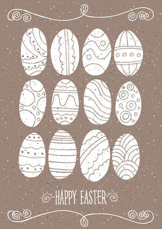 pied: Happy Easter set with Easter eggs without filling Illustration