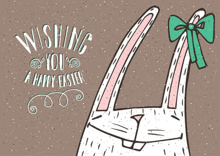 love symbols: Handmade lettering Wishing you a Happy Easter with Easter Bunny close-up - congratulation concept Illustration