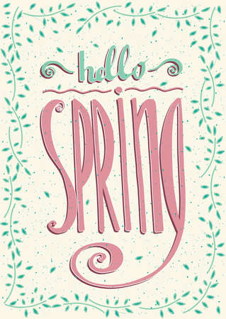offshoot: Frame from sprigs with handmade text Hello spring