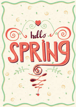 offshoot: Lettering Hello spring with flourishes - greeting card concept